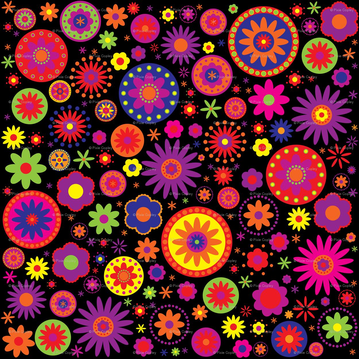 Hippie Rainbow Flower Pattern Fabric