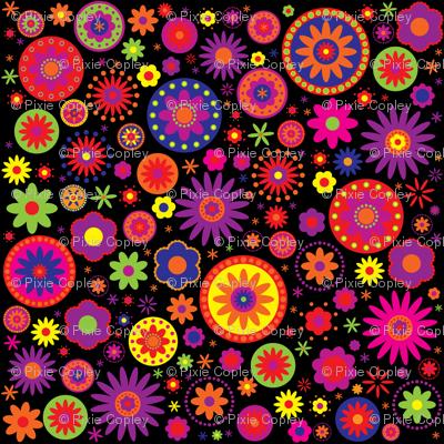 Hippie Rainbow Flower Pattern