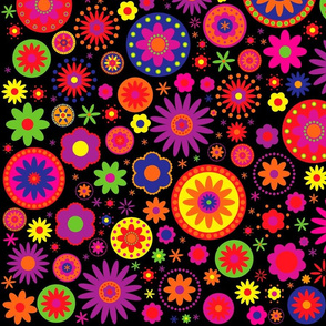 Hippie Rainbow Flower Pattern