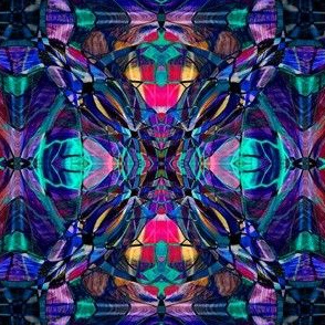 Blue Stained Glass Fractal Pattern