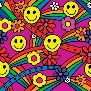 Rainbow Smiley Hippie Pattern