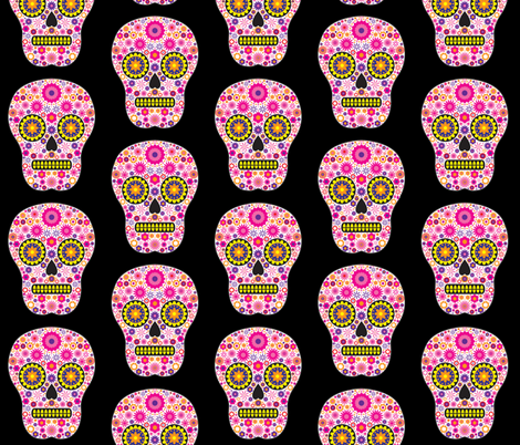 Pink Mexican Sugar Skull Pattern fabric by hippygiftshop on Spoonflower - custom fabric