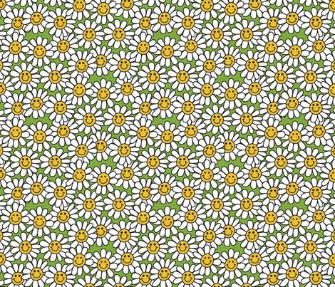 green smiley daisy flower pattern fabric hippygiftshop spoonflower