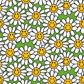 Green Smiley Daisy Flower Pattern