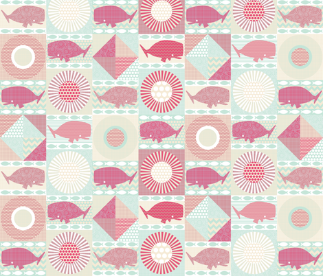 geo whales pink small fabric by scrummy on Spoonflower - custom fabric