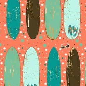 Vintage Surf Boards Sunnies and Flip Flops on Peach Dots