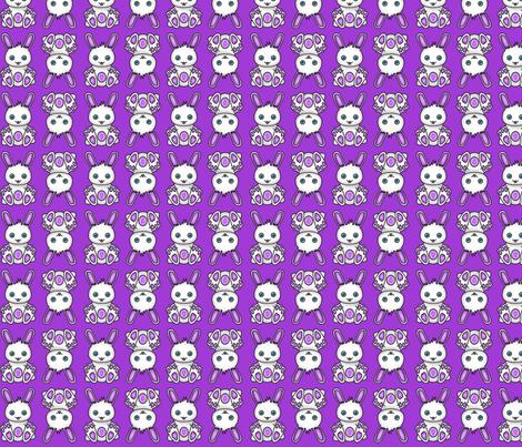 Kawaii Purple Bunny Pattern fabric by hippygiftshop on Spoonflower - custom fabric