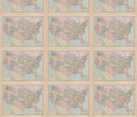 Small US Map fabric by aftermyart on Spoonflower - custom fabric