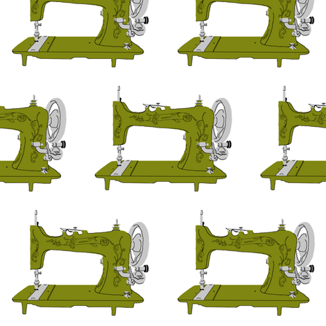 Sew Vintage Sewing Machines in Avocado fabric by kelseycreates on Spoonflower - custom fabric