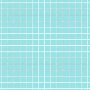 Starlight Geometric Grid - White on Pale Blue