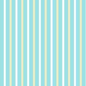 Starlight Stripes - Narrow White and Cream on Pale Blue