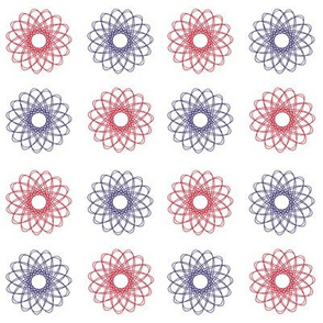 spirals in red, white and blue