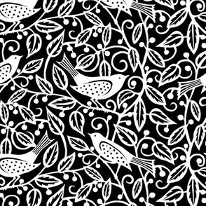 Birds and Berries - Black and White
