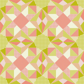 Morning Stars Quilt - Blush Pink, Bamboo Green and White (# W1)