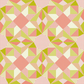 Blushing Stars Quilt - Blush Pink, Bamboo Green and White (# W2)