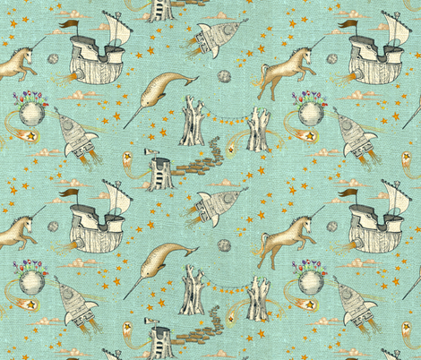 The Enchanted Universe (SMALL) fabric by nouveau_bohemian on Spoonflower - custom fabric