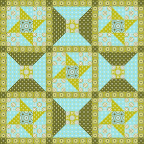 Winding Cotton - Verde Quilt Block