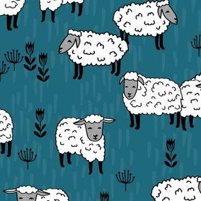 Field of Sheep fabric - Bondi Blue by Andrea Lauren
