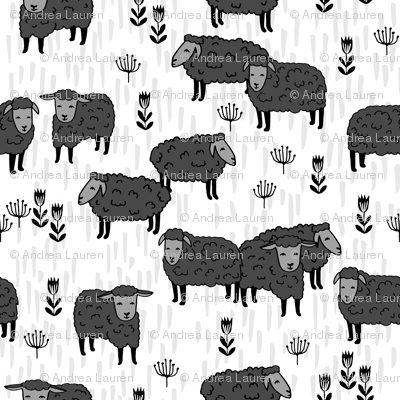 Field of Sheep - sheep fabric // charcoal and white farm animals design andrea lauren fabric by Andrea Lauren