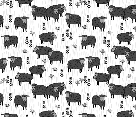 Field of Sheep - sheep fabric // charcoal and white farm animals design andrea lauren fabric by Andrea Lauren fabric by andrea_lauren on Spoonflower - custom fabric