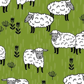 sheep fabric // moss green farm animals design andrea lauren fabric