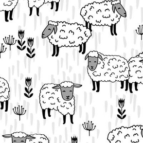 sheep fabric // grey and white farm animals design andrea lauren fabric