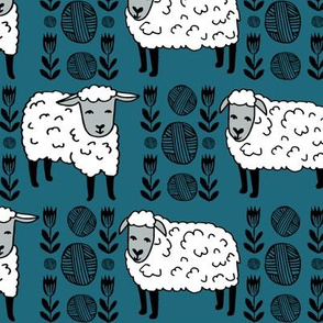 Sheep fabric // sheep and yarn ball wool fabric andrea lauren design - bondi blue