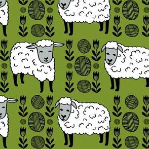Sheep fabric // sheep and yarn ball wool fabric andrea lauren design - moss green