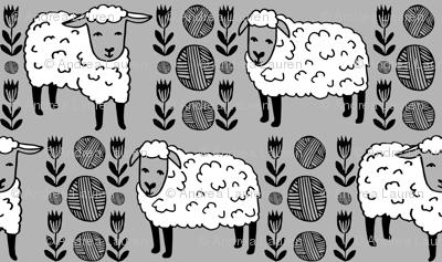 Sheep fabric // sheep and yarn ball wool fabric andrea lauren design - slate grey