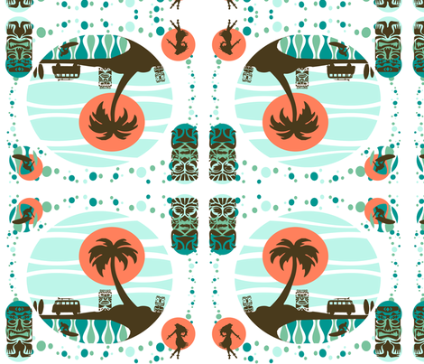 Vintage Surfing_reflecting quad fabric by kfrogb on Spoonflower - custom fabric