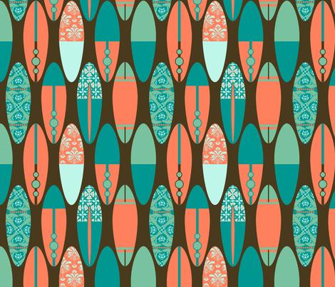 Surfboards on Brown fabric by run_quiltgirl_run on Spoonflower - custom fabric