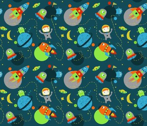 Fun space travel fabric mondebettina spoonflower for Space pattern fabric