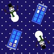 Police Box Snowmen Blue