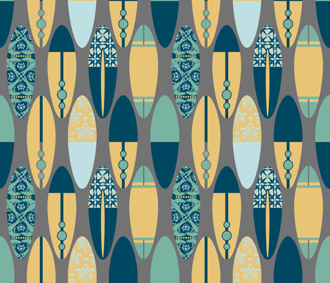 Surfboards on Gray fabric by run_quiltgirl_run on Spoonflower - custom fabric