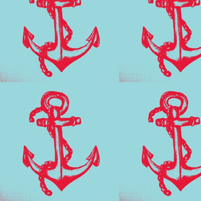 red anchor sea blue