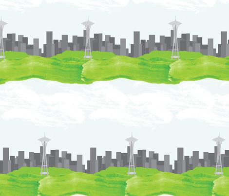 Seattle Skyline fabric by robyriker on Spoonflower - custom fabric