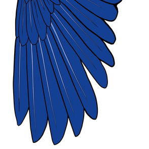 One Yard Simple Feather Wings in Blue, V.2