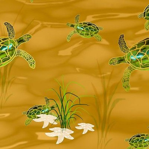 Sea Turtles and Starfish at Play