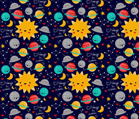 Things In Space - Blue fabric by emandsprout on Spoonflower - custom fabric