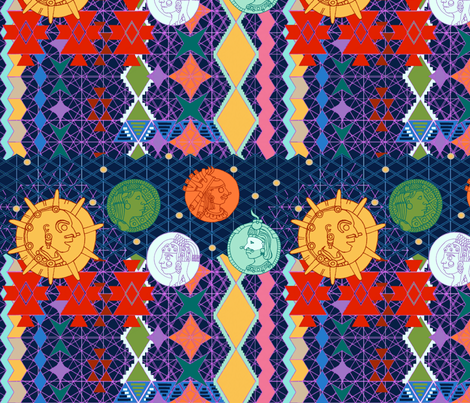 Aztec Cosmology fabric by bloomingwyldeiris on Spoonflower - custom fabric