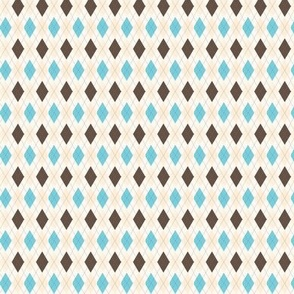 Aqua and Cream Argyle