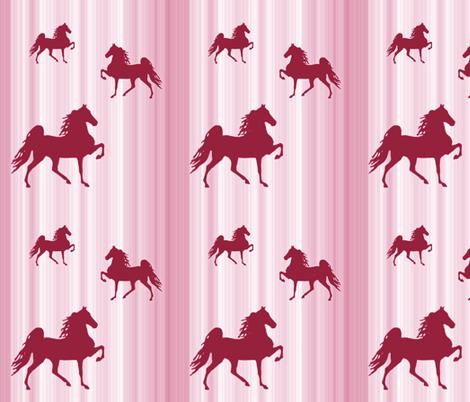 Horses-pink_stripe fabric by mammajamma on Spoonflower - custom fabric