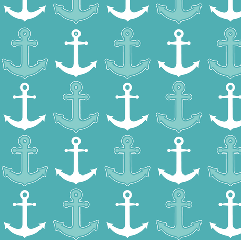 Anchor's Away! Teal Blue and White fabric by jannasalak on Spoonflower - custom fabric