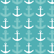 Anchor's Away! Teal Blue and White