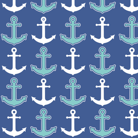 Nautical Anchor Pattern Navy Blue and Teal fabric by jannasalak on Spoonflower - custom fabric