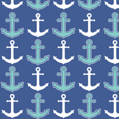 Nautical Anchor Pattern Navy Blue and Teal