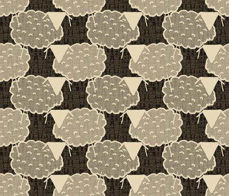 Ecru Ewes on Scrubby Brown fabric by anniedeb on Spoonflower - custom fabric