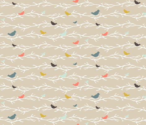 Coral Treetop Birds fabric by mrshervi on Spoonflower - custom fabric