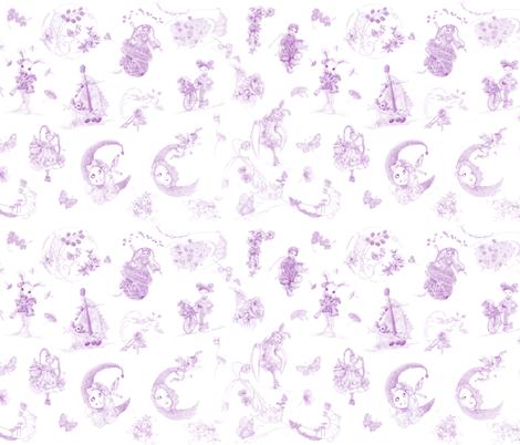 Lavender on White Toile de Jouy hand-drawn fairy tales fabric by nancy_lee_moran_designs on Spoonflower - custom fabric