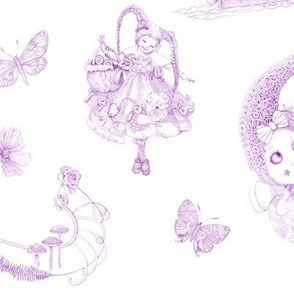Lavender on White Toile de Jouy hand-drawn fairy tales